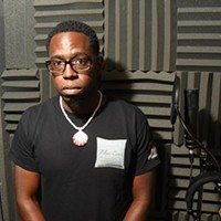 """Lamar """"L-Smooth"""" Mensa in the vocal booth at Inferno Factory where he records.  mh"""