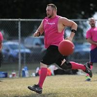 Justin Joplin runs for home during a WAKA Kickball game at Eggeling Stadium at Wheeler Park in Oklahoma City, Tuesday, Aug. 26, 2015.
