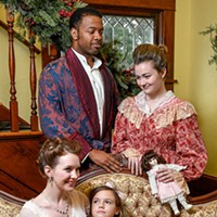 From Front Left; Kylie Groom as Esther Smith, Gabrielle Alspaugh as Tootie Smith, Micheal Andreus as Mr. Alonso Smith, and Karlin Smith as Mrs. Anna Smith. Meet Me in St. Louis. UCO Photo by Lauren Bieri