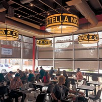 Stella Nova features light fixtures made with     antique metal.