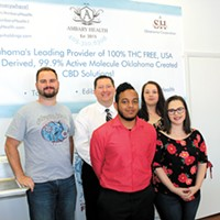 The Ambary Health team from its Norman headquarters: from left Ryan Curtis, Jimmy Shannon, Justice Williamson, Odaira Arens and Shelly Lovelis