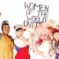 Alexis Ward (Marianne Angelle), Madison Hill (Charlotte Corday), Amanda Lee (Marie Antoinette) and Erin Woods (Olympe de Gouges) play activists in Oklahoma Shakespeare in the Park's  production of The Revolutionists.