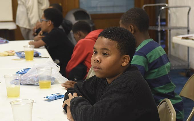Victor Doolin listens during a recent Alpha Boys Institute session.  mh
