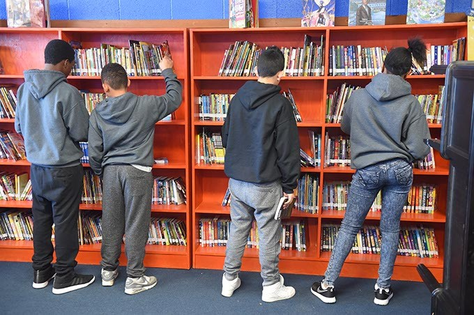 Students in the library at Justic Alma Wilson Seeworth Academy South Campus, 3806 N. Prospect Avenue, Oklahoma City, 1-13-16. - MARK HANCOCK