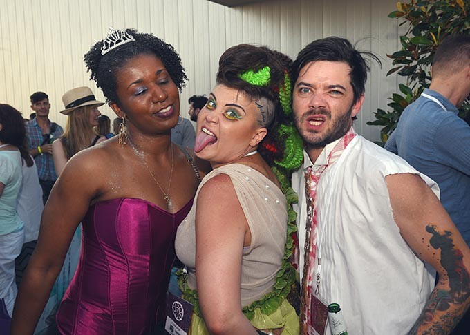 From left, Delicious Deva Balthazar, and The Bacon, attending the OKCMOA opening night rooftop party for the DeadCenter Film Festival, 6-11-2015.  Mark Hancock