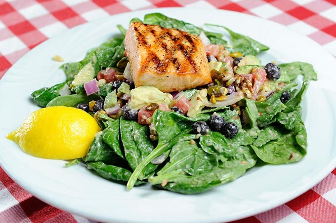 Salmon salad at Flip's. (Garett Fisbeck)