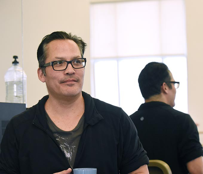 Jock Soto pauses while working with Level 4 students in Jeremy Linberg's class at OU School of Dance on 3-02-15.  mh