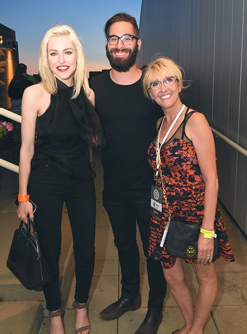 From left, Christina Fallin, Michael Cook, and Denise Castella, attending the OKCMOA opening night rooftop party for the DeadCenter Film Festival, 6-11-2015.  Mark Hancock