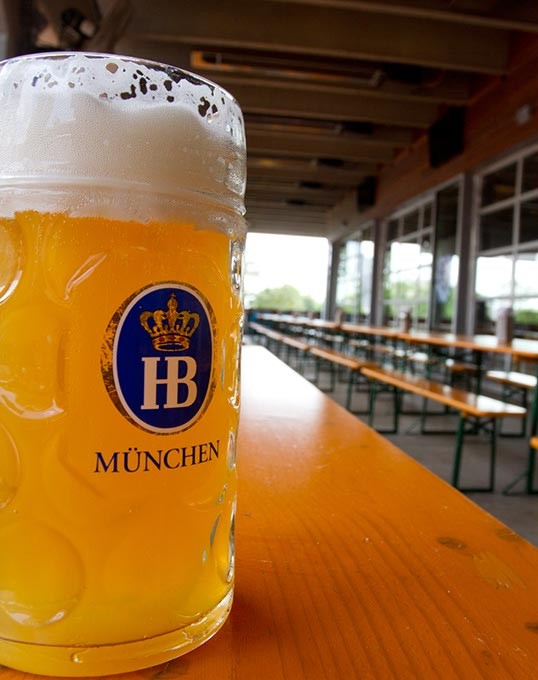 Large Beer on Fassler's hall Picnic tables in their patio area in Oklahoma City, Monday, July 6, 2015 - KEATON DRAPER