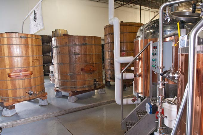 Brewing vats of wood and steal, at Athem Brewing Company.  mh