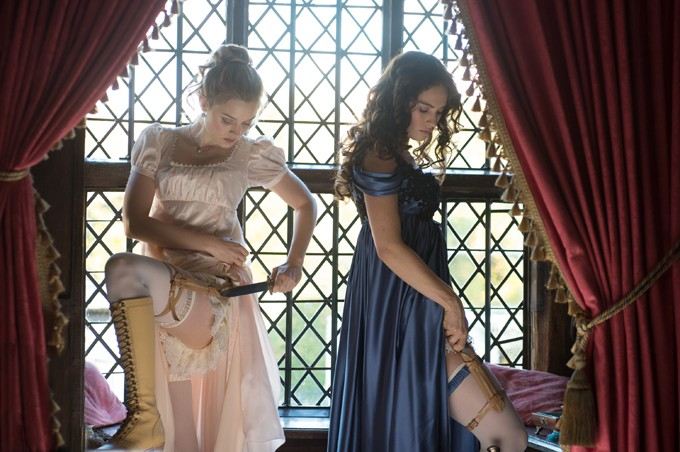 Bella Heathcote (left) and Lily James star in Screen Gems' PRIDE AND PREJUDICE AND ZOMBIES. - JAY MAIDMENT