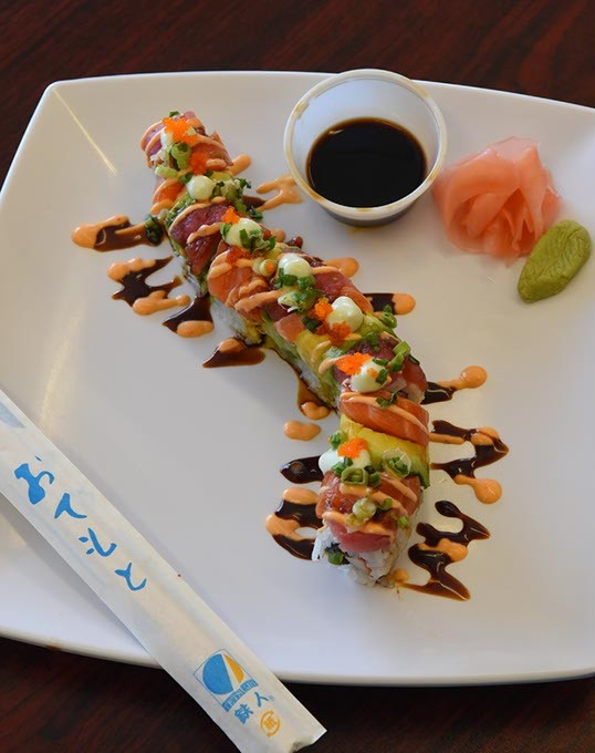 Rainbow Sushi Roll at Ninja Sushi Station inside the Gulf gas station and convenience store in Del City.  mh