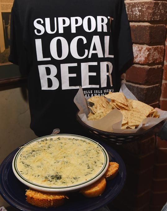 "Chips, Spinach dip and ""Support your local Beer"" Tee-Shirt, all available at Belle Isle Brewery, 9-11-15. - MARK HANCOCK"