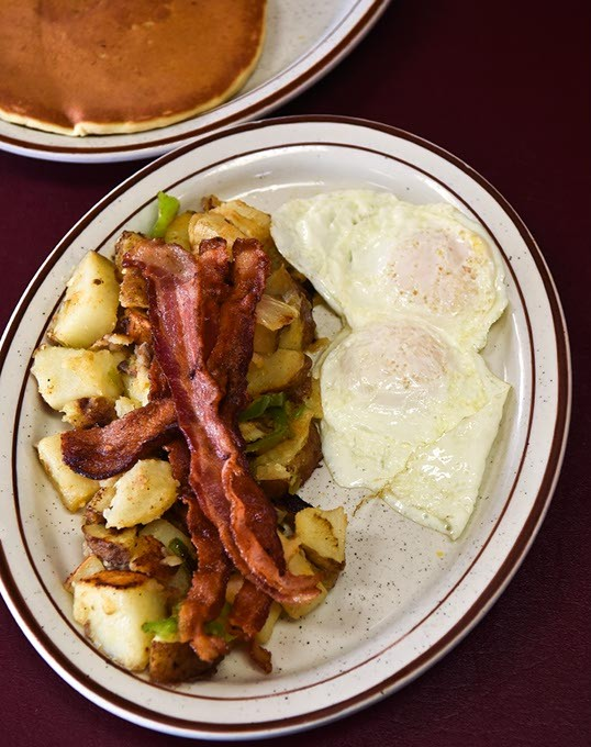 Eggs, bacon, homefries, and pancakes at Jimmy's Round Up Cafe, 4-14-15. - MARK HANCOCK
