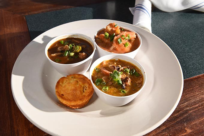 Creole Trois sampler, at Jax Soul Kitchen, 575 S. University in Norman, 2-8-16. - MARK HANCOCK