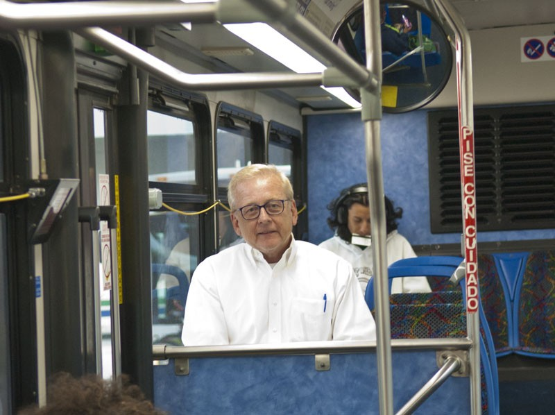 OKC Ward 5 Councilman, David Greenwell takes bus #16 home, walking to catch it at the Metro Transit terminal, just blocks from his work.  mh