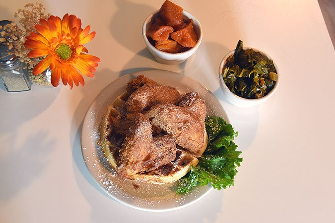 Mama E's Wings and Waffles with Candied Yams (Sweet Potatoes) and Collard Greens.  mh