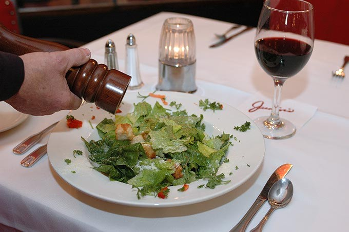 Ceasar salad, prepared tableside, at Junior's.  file, 1-23-2009. - SHANNON CORNMAN