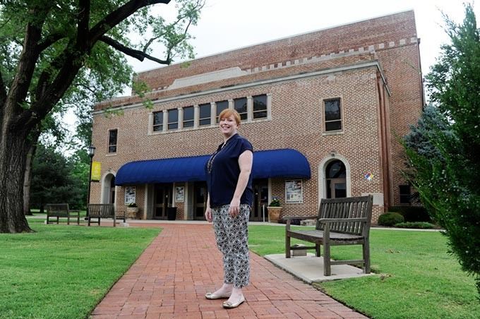 Meghan Braseull, Director of Facilities and Productions for Mitchell Hall, poses for a photo on the University of Central Oklahoma Campus, Tuesday, July 7, 2015. - GARETT FISBECK