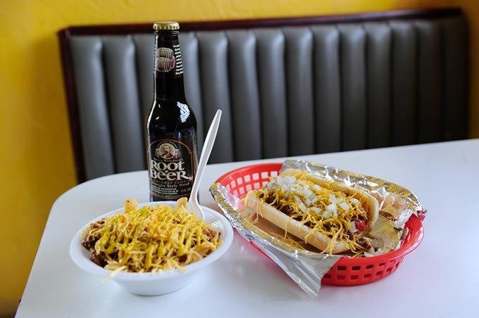 Chili dog, frito chili pie, and a root beer at Mighty Dog in Oklahoma City, Thursday, Jan. 29, 2015. - GARETT FISBECK