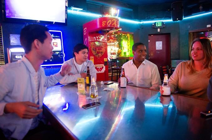From left John Vu, Andrew Trinner, Dominic Williams and Laura Talbert at Sipango Lounge. (Garett Fisbeck)