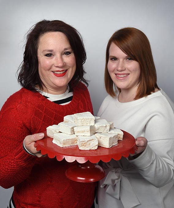 From left, Melissa and daughter, Katie Morgan of Katiebug's with marshmallow cakes, at the Gazette Studios, 12-21-15. - MARK HANCOCK