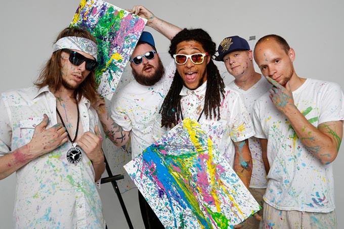 Rodrick Malone, Igloo Panda, HuckWheat, Trill Collins, and Tedajet of Sativa Prophets pose for a photo at Studio XII in Oklahoma City, Tuesday, May 26, 2015. - GARETT FISBECK