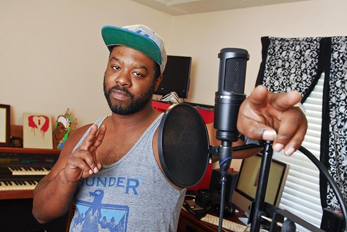 Ronnie Harris produces his version of Hip Hop in this room, with this mic,  at his Edmond Home.  mh