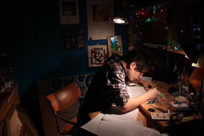Klair Larason works on a piece for Momentum OKC (Oklahoma Visual Arts Coalition / Provided)