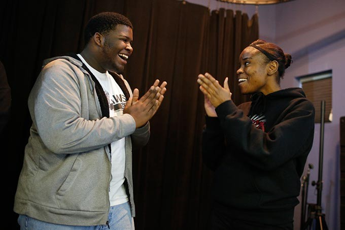 Denzel Graves and Malaysia Glover sing in music class at Seeworth Academy in Oklahoma City, Friday, April 24, 2015. - GARETT FISBECK