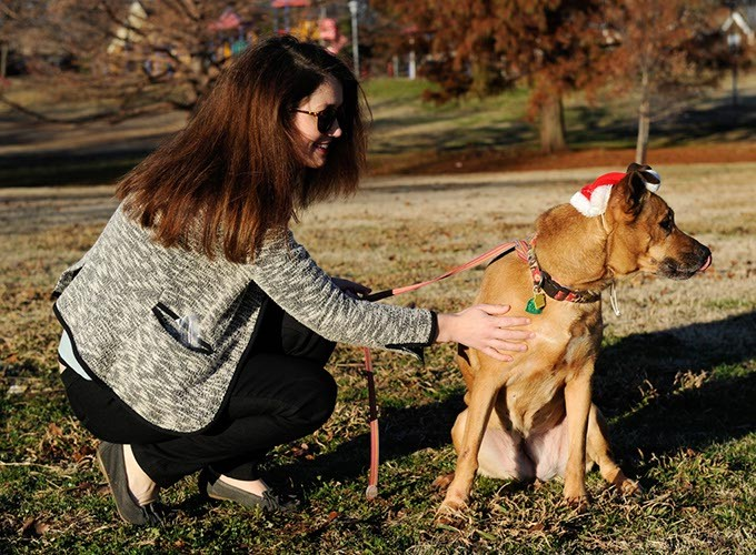 Allison Peterson walks Cabella at Flower Garden Park in Oklahoma City, Wednesday, Dec. 16, 2015. - GARETT FISBECK