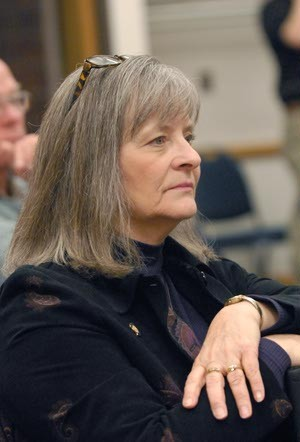 State Rep. Sally Kern watches during a debate between Dr. Bruce Prescott and husband, Dr. Steve Kern over the constitutionality of a Christian nation, Thursday, 2-24-11, at Oklahoma City Community College.  mh