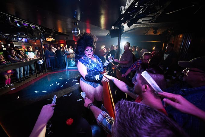 Lindsay Paige (center) performs during Gender Bender Lipstick Revue at Phoenix Rising. (Garett Fisbeck)