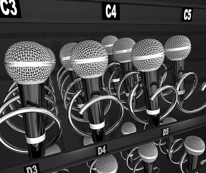 Microphones in a snack or vending machine to illustrate a talent or singing contest, show or competition - BIGSTOCK