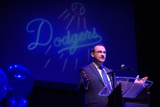 Dodgers president and general manager Michael Byrnes speaks during team's season kickoff luncheon Feb. 22 at The Criterion. (Garett Fisbeck)