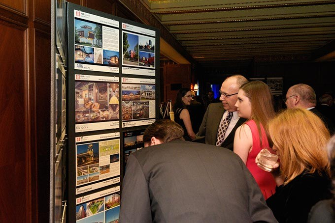 Attendees view winning pieces during the AIACOC design awards at the Skivin Hotel, Friday, Nov. 4, 2016. - GARETT FISBECK