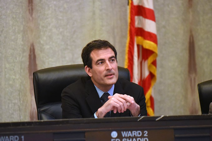 Oklahoma City Ward 2 Councilman, Ed Shadid, during the recent debate concerning panhandleing, 12-8-15, at City Hall in Downtown OKC. - MARK HANCOCK