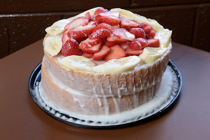 Strawberry-banana cake at Leo's BBQ, Monday, Dec. 5, 2016. - GARETT FISBECK