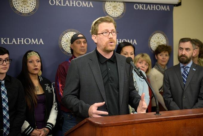Sierra Club Oklahoma president Johnson Bridgwater, who advocates for development of renewable energy, speaks at a recent press conference. (Garett Fisbeck)