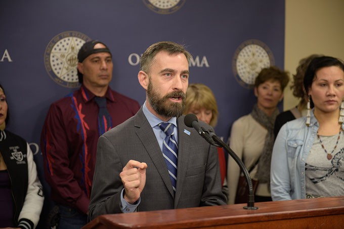 Ryan Kiesel, of ACLU of Oklahoma, speaks during a press conference lead by ACLU and allies dounouncing legislative efforts to silence protestors, at the Oklahoma State Capitol, Wednesday, March 8, 2017. - GARETT FISBECK
