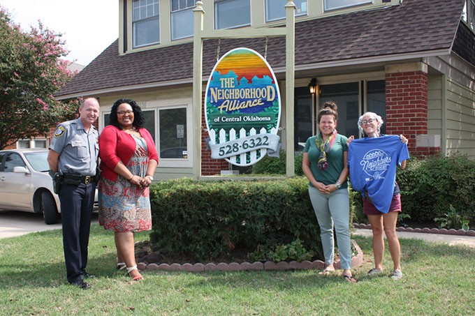 from left MSgt. Robert Skalla, Ashley Dickson, Barbie Smalley and Jessica Thompson will participate in Tuesday's Neighbors Night Out event. | Photo Laura Eastes