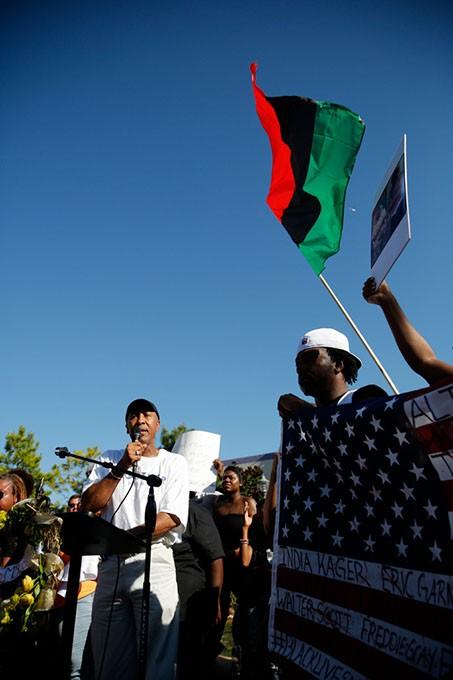 Garland Pruitt, president of the NAACP Oklahoma City branch, speaks during a Black Lives Matter demonstration in Oklahoma City, Sunday, July 10, 2016. - GARETT FISBECK