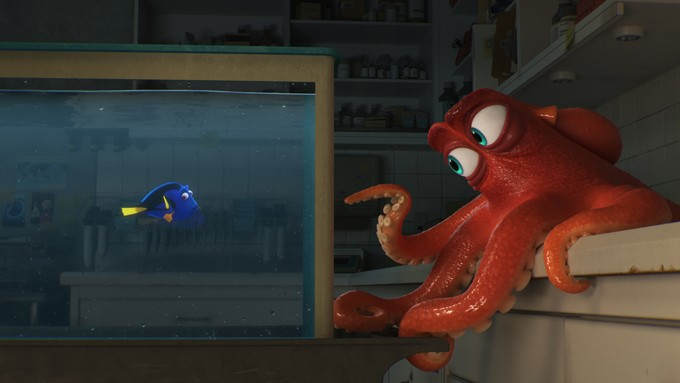 """DO I KNOW YOU? -- In Disney?Pixar's """"Finding Dory,"""" everyone's favorite forgetful blue tang, Dory (voice of Ellen DeGeneres), encounters an array of new?and old?acquaintances, including a cantankerous octopus named Hank (voice of Ed O'Neill). Directed by Andrew Stanton (?Finding Nemo,? ?WALL?E?) and produced by Lindsey Collins (co-producer ?WALL?E?), ?Finding Dory? swims into theaters June 17, 2016. - PIXAR"""