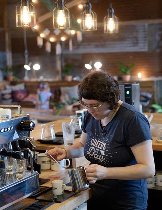 ?Cece Otero makes coffee at Okay Yeah Co., Wednesday, Sept. 7, 2016. - GARETT FISBECK