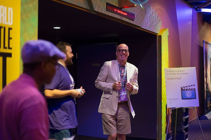 """Filmmaker, Lance McDaniel, stands at entrance of theatre showing his film """"O, Brother!"""" in Oklahoma City, Sunday, June 12, 2016. - EMMY VERDIN"""