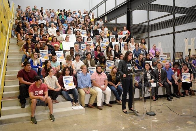 Judith Huerta, Dream Act Oklahoma co-director, speaks at a demonstration to defend DACA. (Photo Garett Fisbeck)