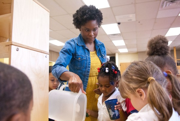 Alexis Daniels works with her Pre-K students at F.D. Moon Elementary recently.  mh