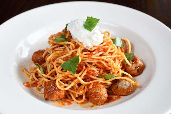 ?Spaghetti polpettine at Patrono, Tuesday, May 17, 2016. - GARETT FISBECK