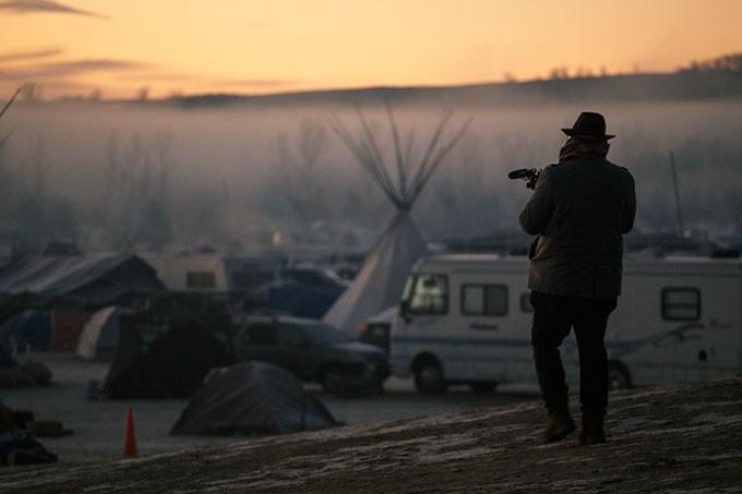 Oklahoma filmmaker Sterlin Harjo films North Dakota's Standing Rock Indian Reservation on Election Day. (Photo provided)