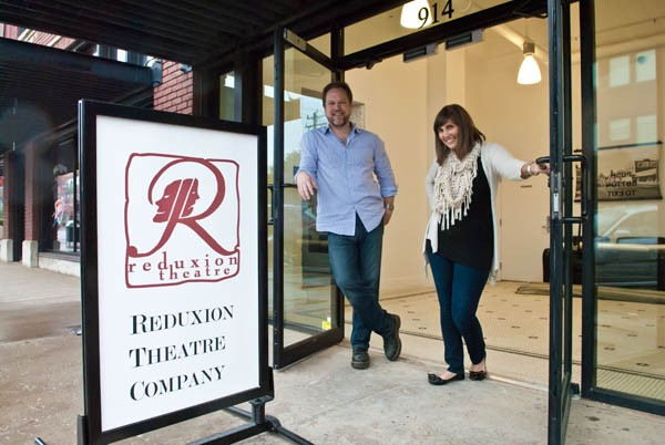 Reduxion Theatre Company's Tyler and Erin Woods at the front door entrance at 914 N. Broadway.  mh